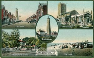 5 small scenes – Hull Road, Lighthouse, St Nicholas Church from south east, Ferriby Cross Roads, the beach, Withernsea 1916