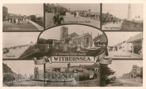 9 small scenes – Station, Promenade from south, Lighthouse, Promenade, St Nicholas Church from south east, North Promenade, Queen Street and Wesleyan chapel, Central Promenade, South Cliff, Withernsea 1914