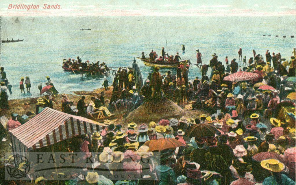 Sands, with open-air service, Bridlington 1900s