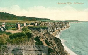 Sewerby cliff path, Bridlington 1910, tinted
