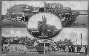5 small views –  Bridlington Spa, the Terraces, the Harbour, Princes' Parade and Priory Church, Bridlington 1914