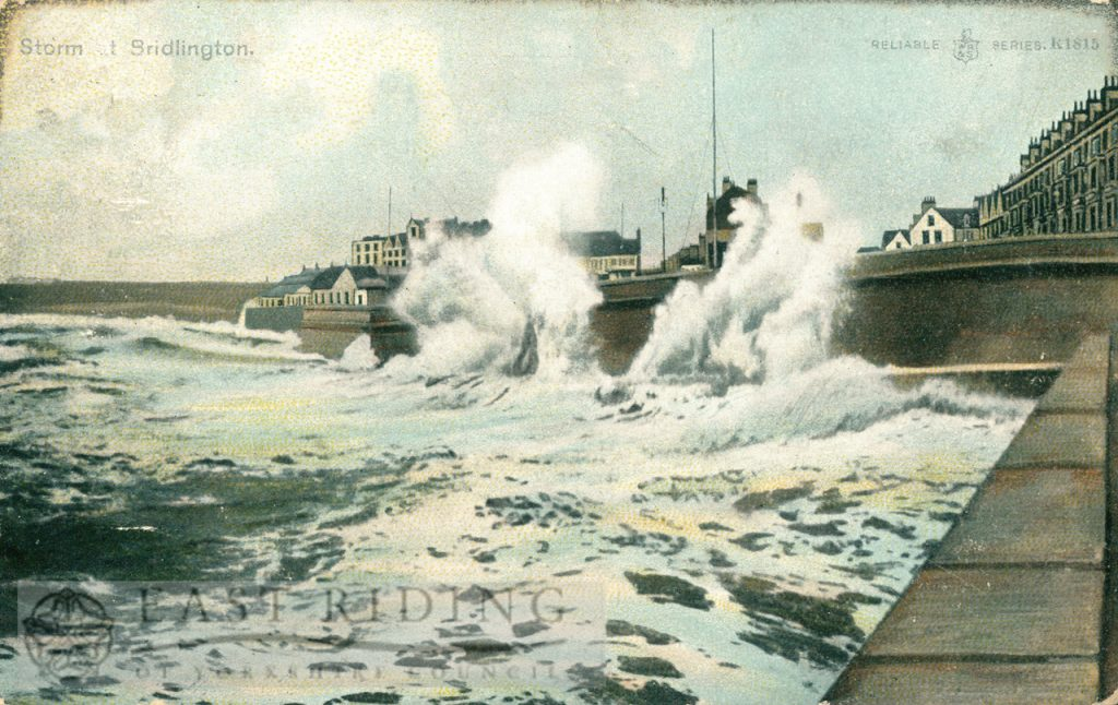 Stormy sea, Bridlington, 1905, tinted