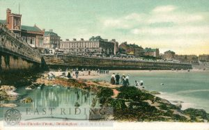 Princes Parade taken from the beach, with Town Hall, Bridlington 1900s, tinted
