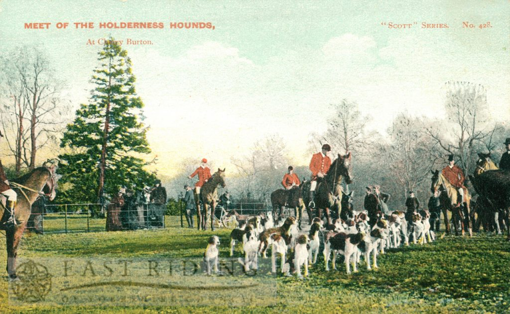 The meet of the Holderness Hounds, Cherry Burton 1900s, tinted