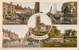 Driffield – 5 small views (Market Place, River Head, Middle Street, Garton, All Saints Church)
