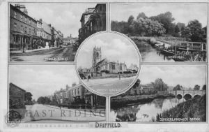 Driffield – 5 small views (Middle Street, Kings Mill, All Saints Church, Beverley Road, Sunderlandwick Bridge)