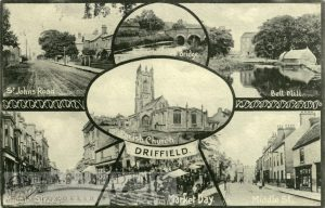 Driffield – 7 small views (St John's Road, Sunderlandwick Bridge, Bell Mills, All Saints Church, Middle Street South, Market Place, Middle Street North)