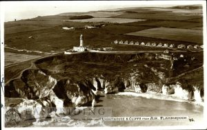 Flamborough Lighthouse and cliffs, Flamborough 1957