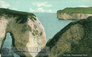 The Stacks and cliffs, Flamborough 1908, tinted