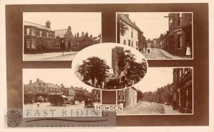 5 small views – Bridgegate, Pinfold Street, Minster from south west, Market Place, Hailgate, Howden 1900