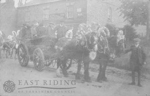 decorated horses and farm waggon, Kilham 1900