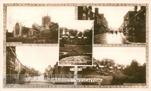 5 small views – All Saints Church from north east, Londesborough Park, Market Place from north west, High Street from north west, Londesborough Park, Market Weighton 1914