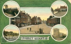 5 small views – All Saints Church from south east, Londesborough Hall, Market Hill, Goodmanham Church from south west, Market Place from north west, Market Weighton 1910
