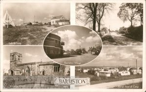 5 small views of Barmston – cafe and campsite, village, The Shadows, All Saints Church, aerial view of campsite 1940s