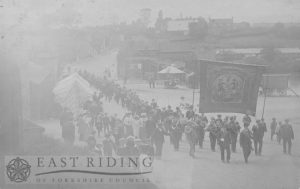 village street with Ancient Order of Foresters procession, Middleton-on-the-Wolds 1908