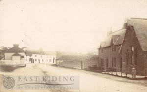 village street from west, Wesleyan Methodist chapel on left, school on right, Muston 1904