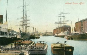 Albert Dock from west, Hull 1900s
