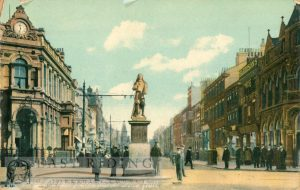 George Street and Marvell statue from west, Hull 1907