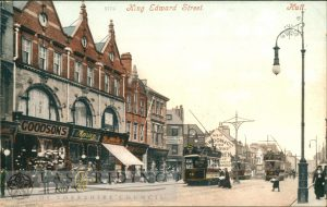 King Edward Street from south east, with trams, Hull 1903
