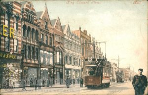 King Edward Street from south east, with tram, Hull 1905
