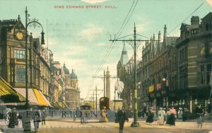 King Edward Street from north west, with tram, Hull 1907