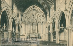 St Wilfred's Church interior showing nave and chancel from west, Hull 1920