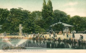 Pearson Park, lake and shelter, Hull 1900s