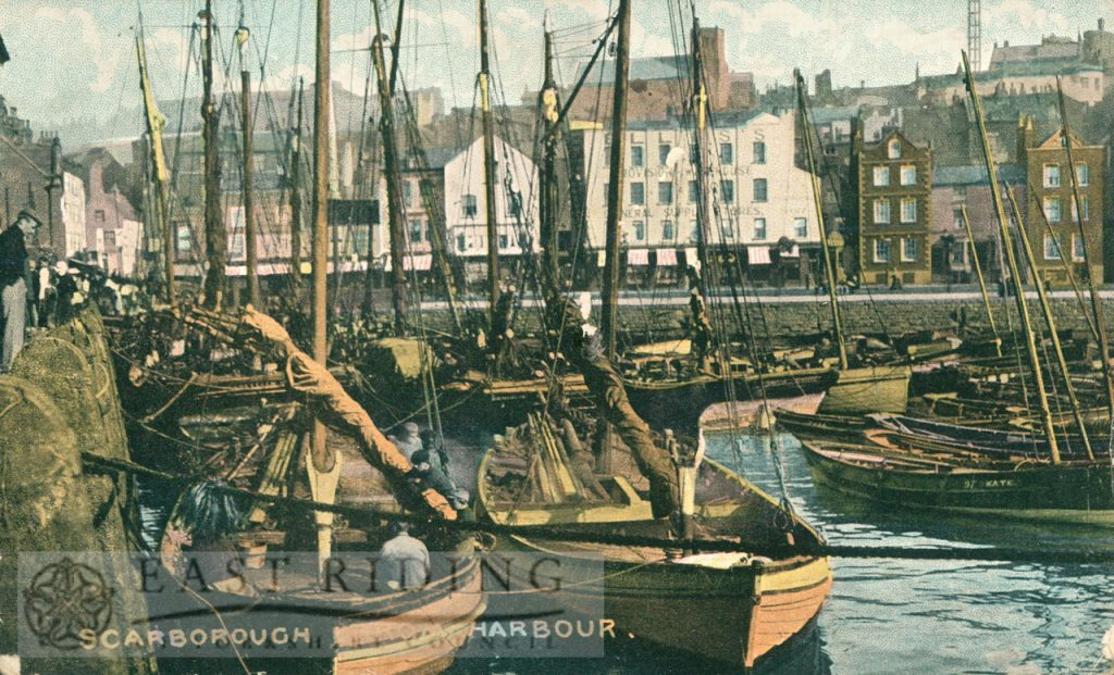 Harbour from south, with fishing boats, Scarborough 1906