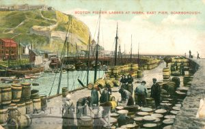 Scotch Fisher Lasses' at work, East Pier, Scarborough 1908