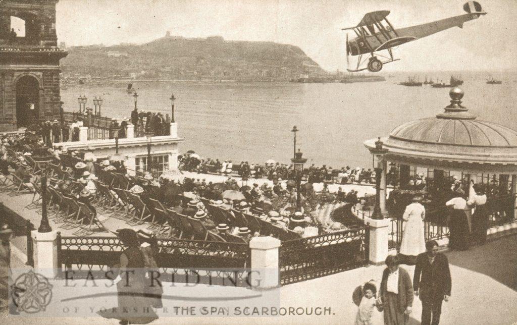 Spa, bandstand, Scarborough (biplane superimposed) 1910
